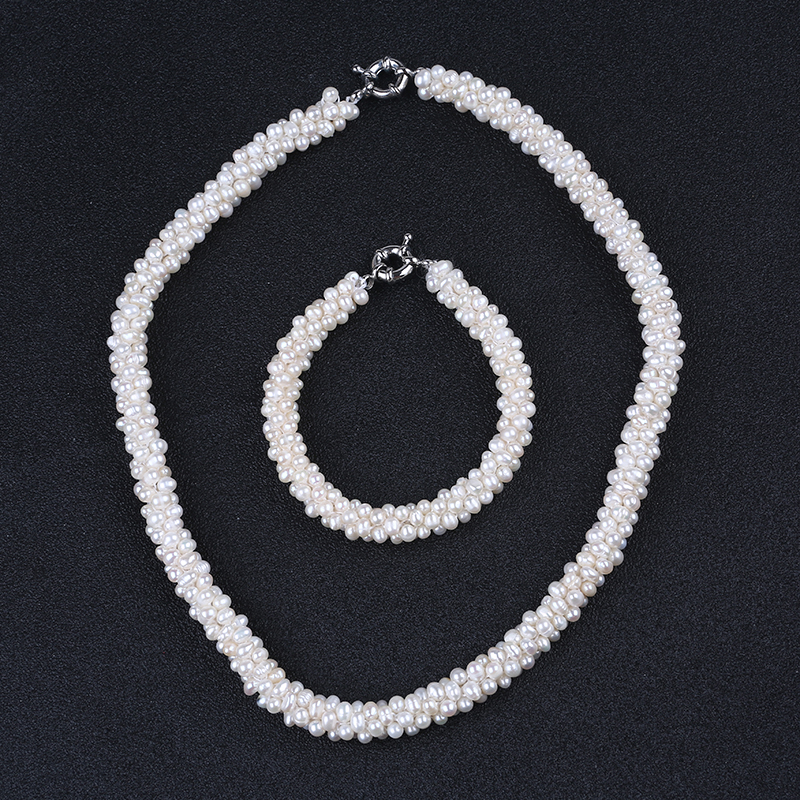 Classic Wedding Bride Jewelry Pearl Costume Necklace Bracelet Jewelry Sets