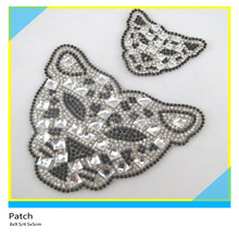 Bling Crystal Rhinestone Patch Cool Tiger Design 8x9.5cm Black mix Clear Crystal