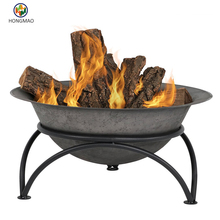Small Dark Gray Wood-Burning Cast Iron Fire Pit Bowl with Stand, 24 Inch Diameter