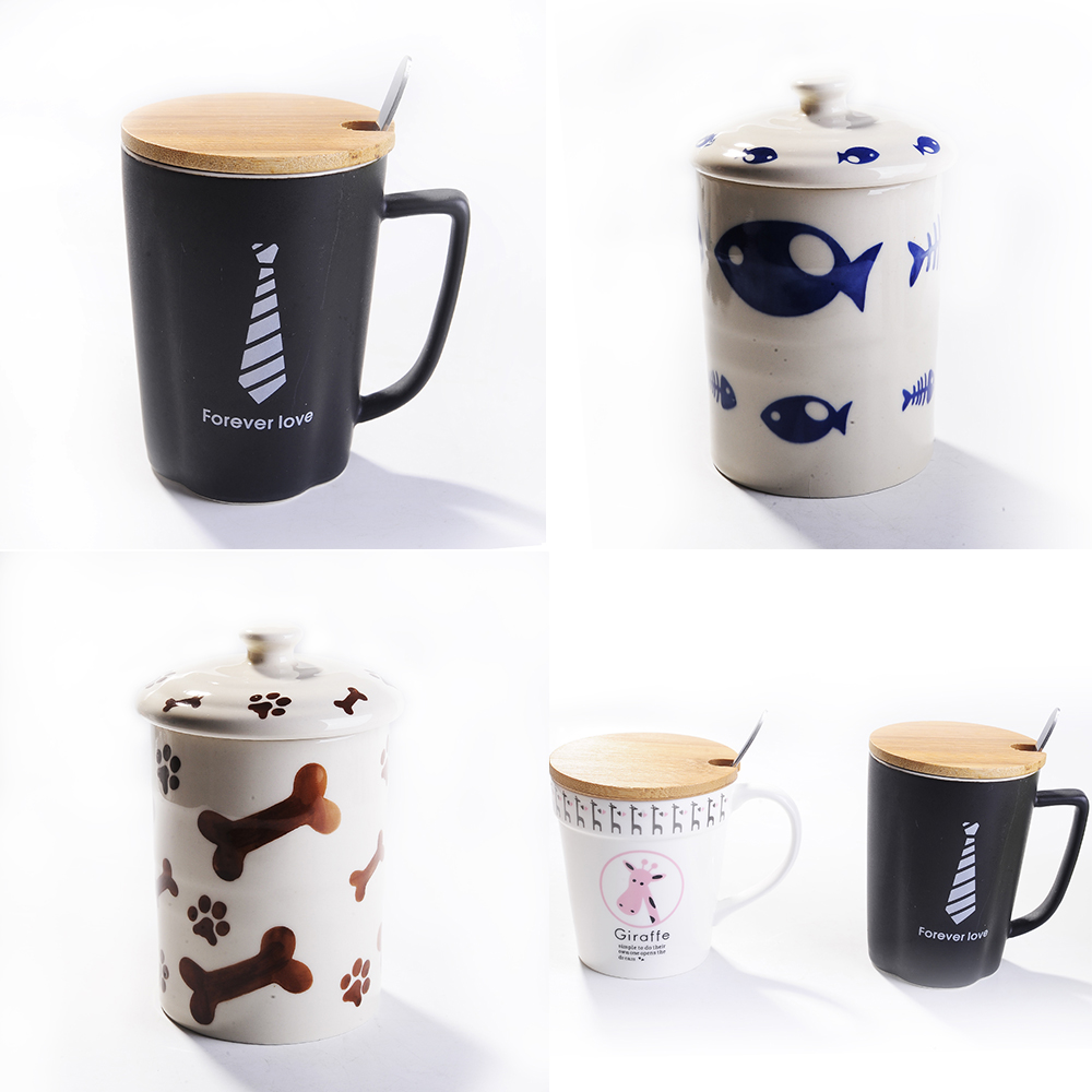 Wholesale Super Cute Ceramic Panda Mug with Lid Creative Ceramic Coffee Cup Funny Tea Porcelain Coffee Cup