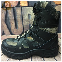 2016 genuine leather heated black camo hunting boots for hunter