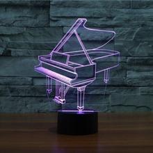 M003 7 colours Battery Power 3d Led Art Deco Color Light Piano Shape Table Lamp