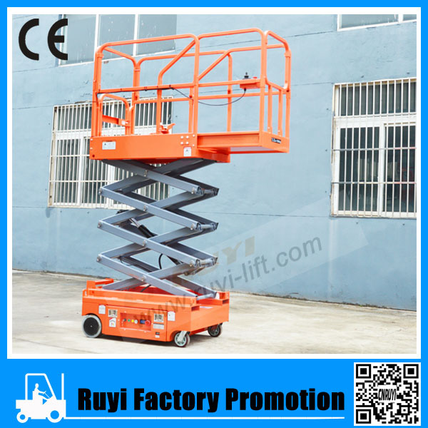 Power lift equipment mini type electric self-propelled scissor lift operated by one person
