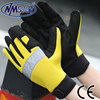 NMSAFETY fishing hand gloves leather working gloves/safety mechanic gloves with elastan backside