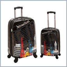 Luggage Set 2PC Cities Spinner Departure Print TSA Lock Luggage