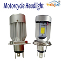 1pcs H4 Motorcycle Led Headlight with fan 20W Super Bright 6000k White COB Motorbike Headlamp