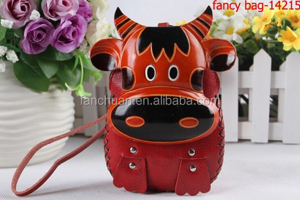 Factory hot selling animal shaped leather coin purse with strip