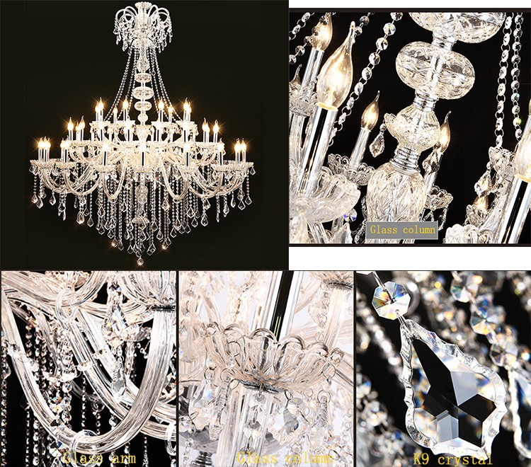 Fashion long stair candle lighting villa hall dining contemporary crystal chandelier