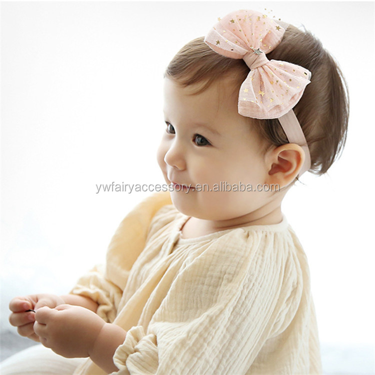 Super September Purchasing Sparkle Star Pink Tulle Flower Bow Baby Headband
