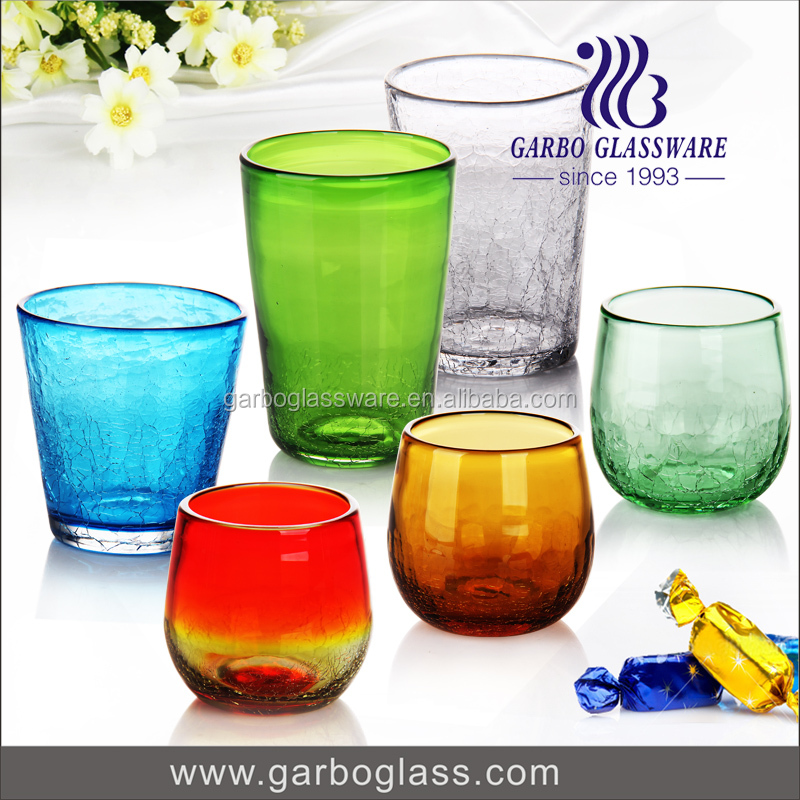 Handmade craft decorative glass cup Colorful glass tea cup handleless coffee mugs made in China