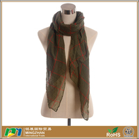 New Style Brown Soft Cozy Chiffon Plaid Pattern Silk Scarves For Women