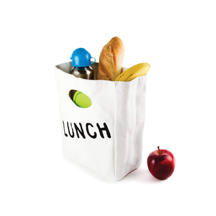 Hot Sale Custom Simple Style Canvas Lunch Tote Cooler Bag For Frozen Food