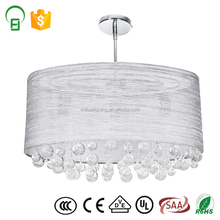 2017 hot sale contemporary luxury crystal ball fabric lightshade customize ceiling lamp for hotel