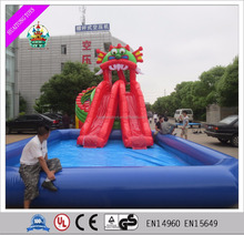 Dragon theme adult size inflatable water slide with big pool