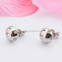 stainless steel ball stud with diamante for unisex