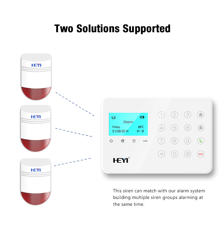 For home security Burglar alarm system Outdoor bell flash siren