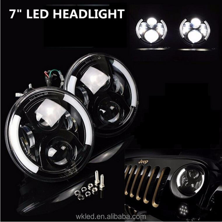 "60w 7"" LED Projector Headlight H4 H13 Connector For J e e p Wrangler JK CJ TJ LJ L and R over Defender 12V LED Driving Light"