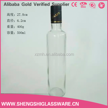 China clear round 500ml olive oil glass bottle with colored aluminum cap