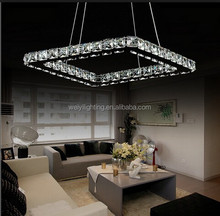 Modern square pendant crystal lamp with LED 36W