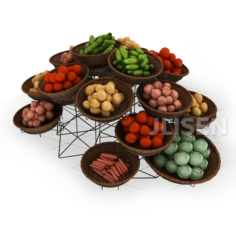 convenience store modern retail shelving metal wrought iron stand and rattan basket fruit vegetable display rack