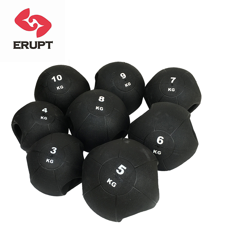 Hot sell double handle gravity rubber medicine ball