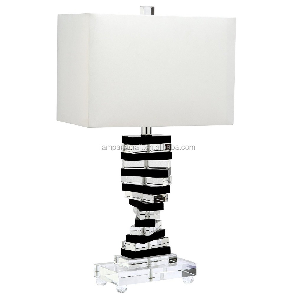 2016 new Lighting collection black crystal key art table lamp with white cotton hardback lamp shade for library or bedroom