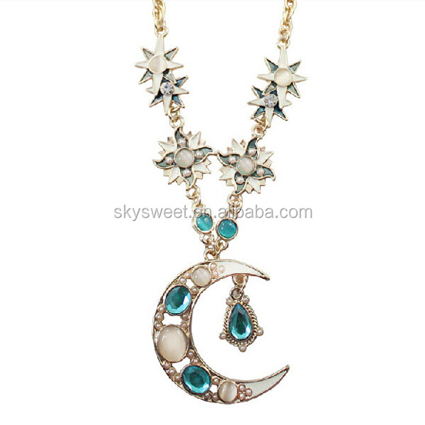 gemini stone necklace, moonstone necklace pendant, yiwu very cheap jewelry