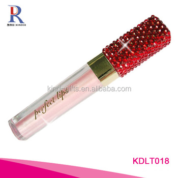 Best quality shining bling crystal studded slim lighted red lip gloss tube