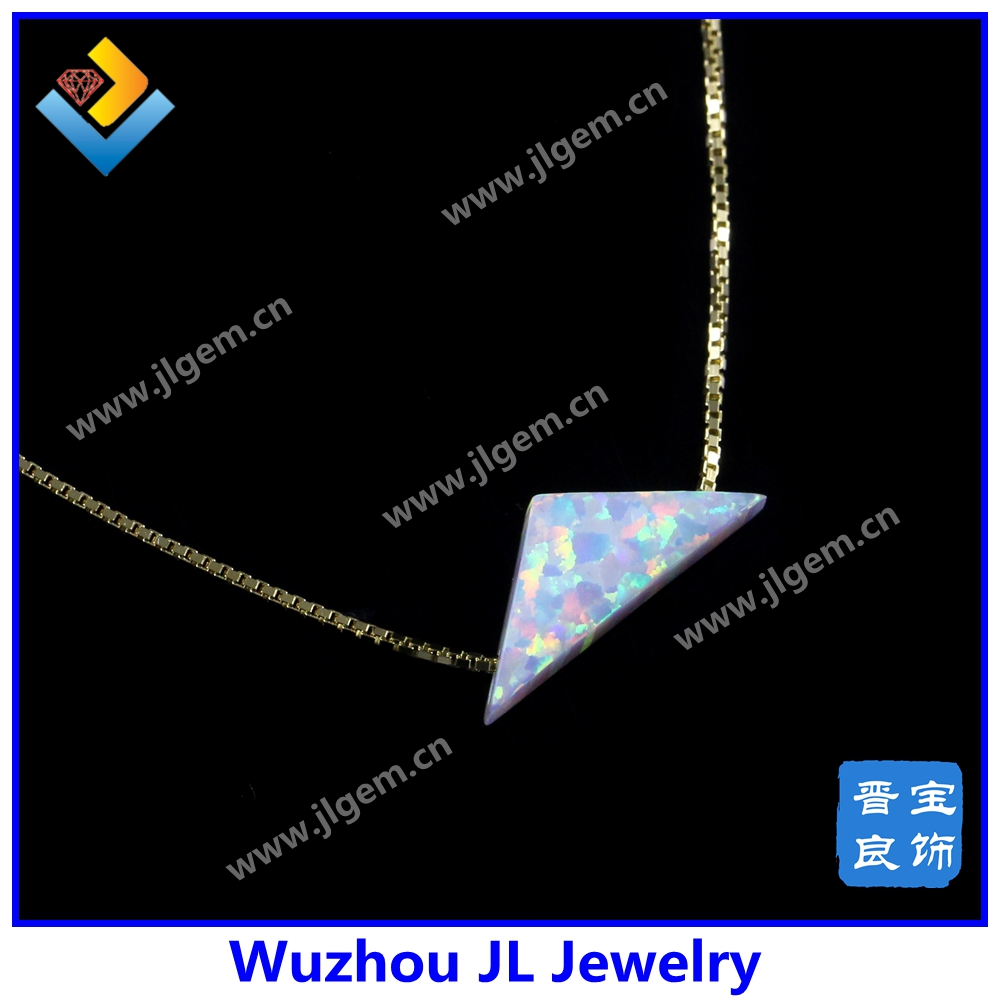 Fancy synthetic opal white triangle shape pendant neckalce with plating 18K gold chain