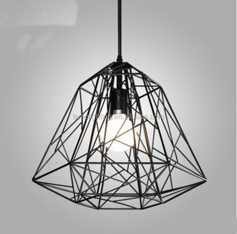 Zhongshan guzhen factory Indoor hotel Iron Wire Black pendant light