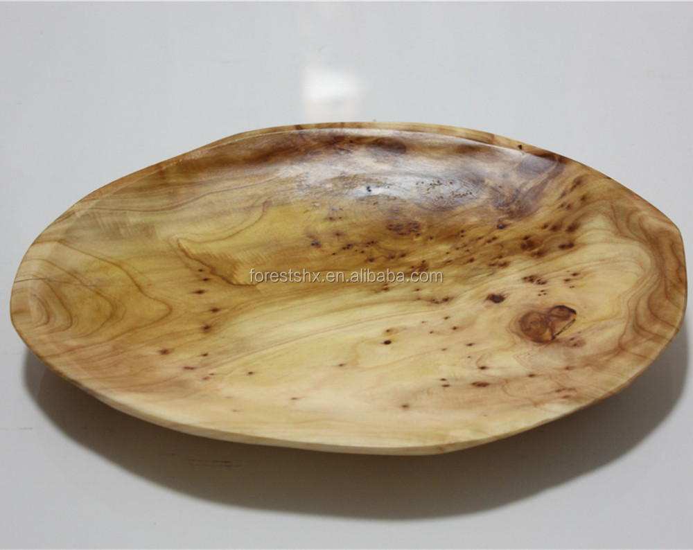Modern Chinese Hand Carved wood creative dried fruit refreshment plate