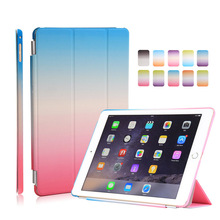 High Quality Rainbow Gradient Color PU leather+PC Tablet case cover for ipad 2/3/4/pro 9.7