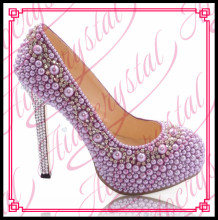 Aidocrystal Fancy 14cm crystal beads high heel wedding shoes fashion and elegant light purple pearl high heels