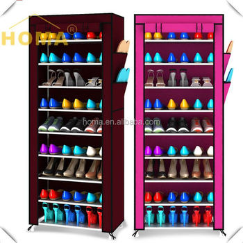 10 tiers 30 pairs cheap portable metal shoe rack waterproof shoe organizer