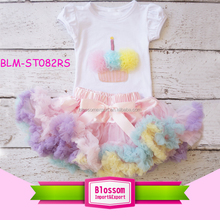 2017 Spring /Summer Little Girls Boutique Rainbow Top And Tutu Skirt Clothing Sets Cupcake Baby Girls First Birthday Outfits