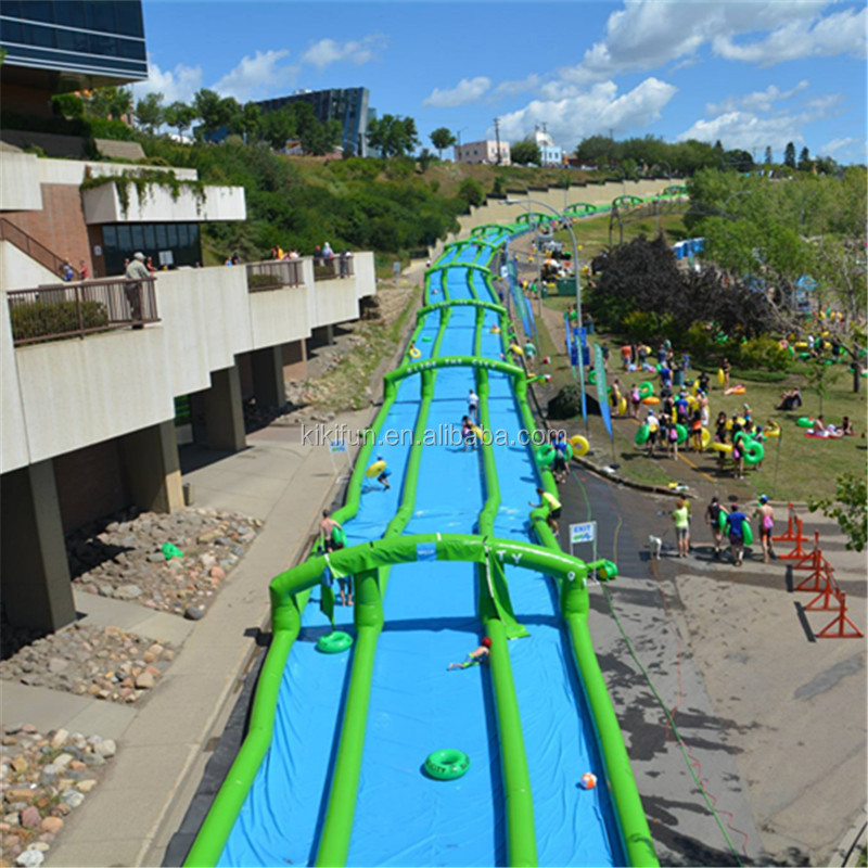 300 meters long giant outdoor water games inflatable slip n slide, inflatable city slide for adults