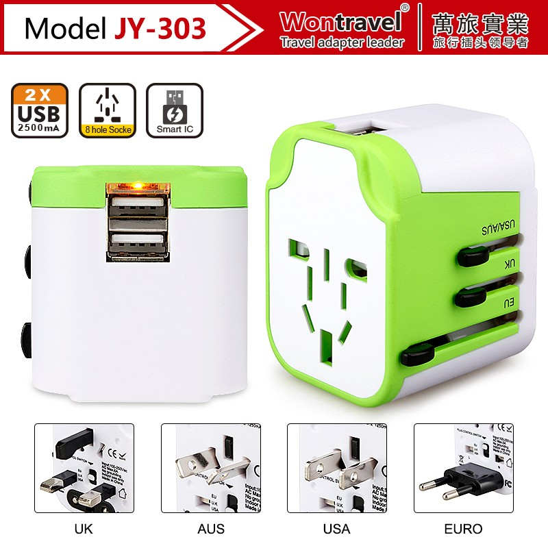 UK/EU/AU/US plug 5V2.5A Travel usb charging power socket adaptor CE ROHS approved with universal outlet