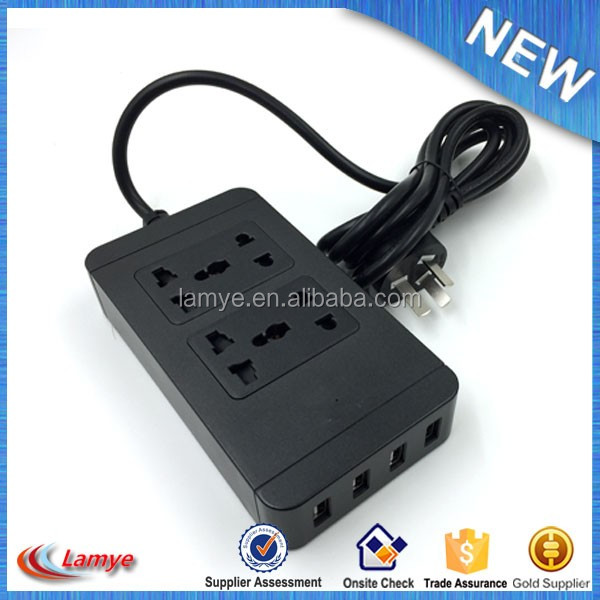 High Quality NEW AC Plugs Outlet Over Load Protection Socket with 4 USB port with CE FCC