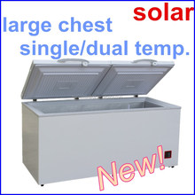 large two top open door 12v solar deep freezer chest freezer with inner fan with thick insulation layer