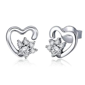fashion 925 sterling silver earrings open heart jewelry wholesale zircon bridal earrings women