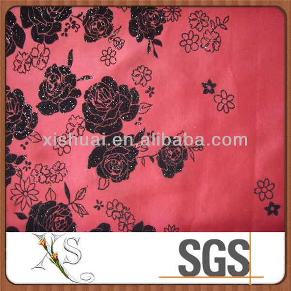 100% Polyester Flocking Taffeta Shantung Fabric