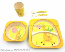 Great Brand Animals Decal Bamboo Fiber Children Dinnerware Set Bamboo Kitchenware Set for Kids