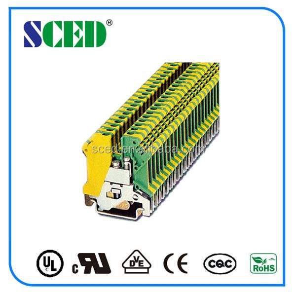 24-10AWG Ground terminal block 4mm2 green yellow terminal connector