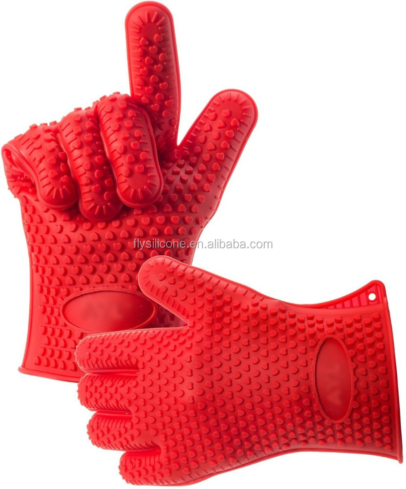 Wholesale Kitchen Cooking Oven Mitts Silicone Heat Resistant Grilling BBQ Gloves