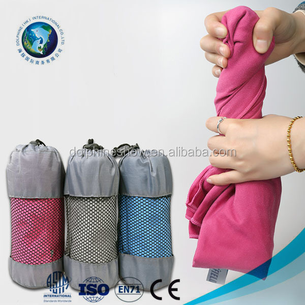 Portable Beach Towel OEM Custom High Quality Travel Towel With Pocket