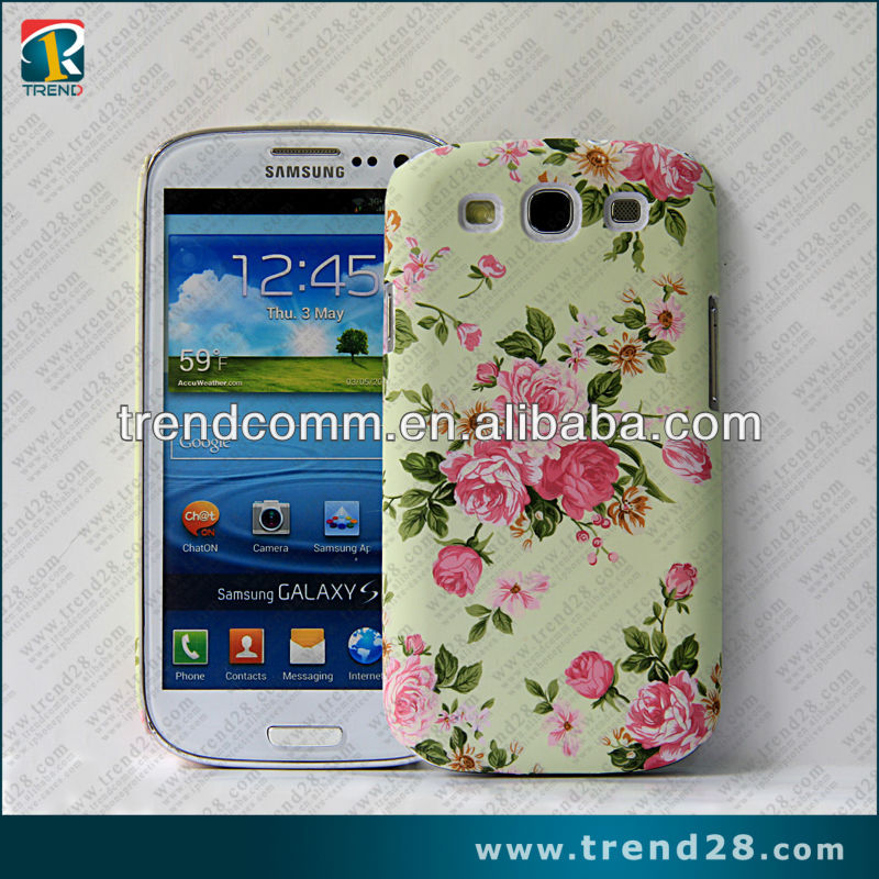 beautiful rose pattern pc phone case for samsung galaxy s3 i9300 with water transfer print tech