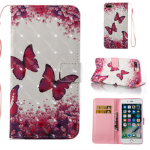 Pretty Butterfly Flowers Animal 3d Printer PU Leather Wallet Back Cover Mobile Phone Card Holder Case for iPhone X 8 7 6 6s Plus
