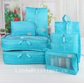 multifunctional portable blue sky travel style nylon luggage organizer bag sets