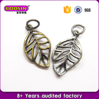High quality leaf antique pewter charm, pewter jewelry making and crafting necklace accessories