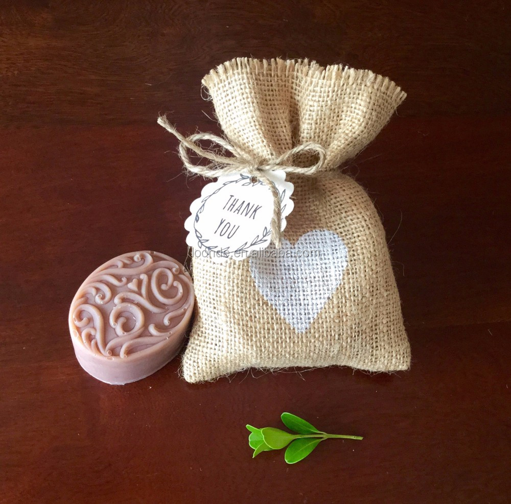Rustic heart stamped jute or burlap soap bag for bridal or baby shower